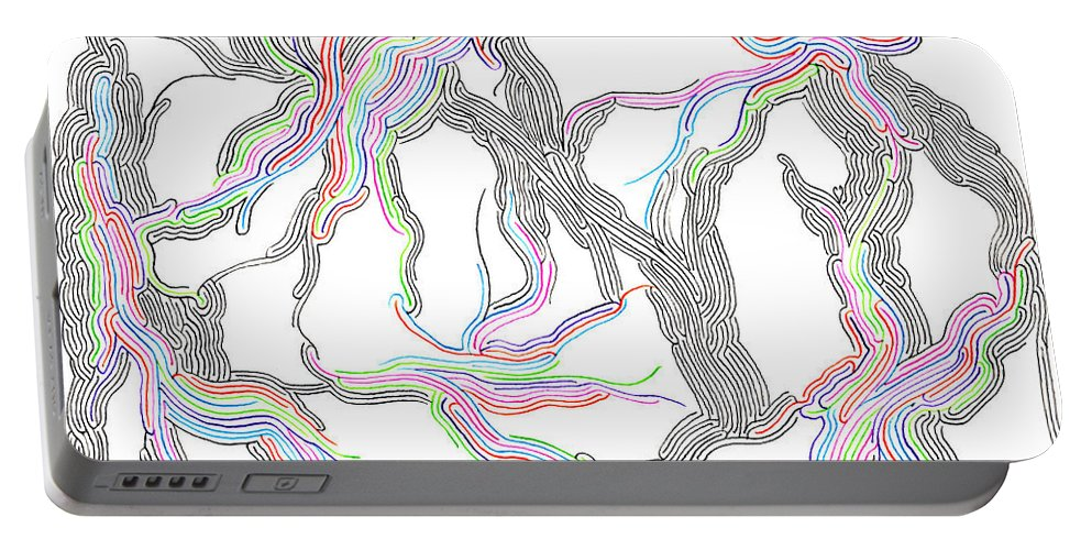 Mazes Portable Battery Charger featuring the drawing Colorization by Steven Natanson