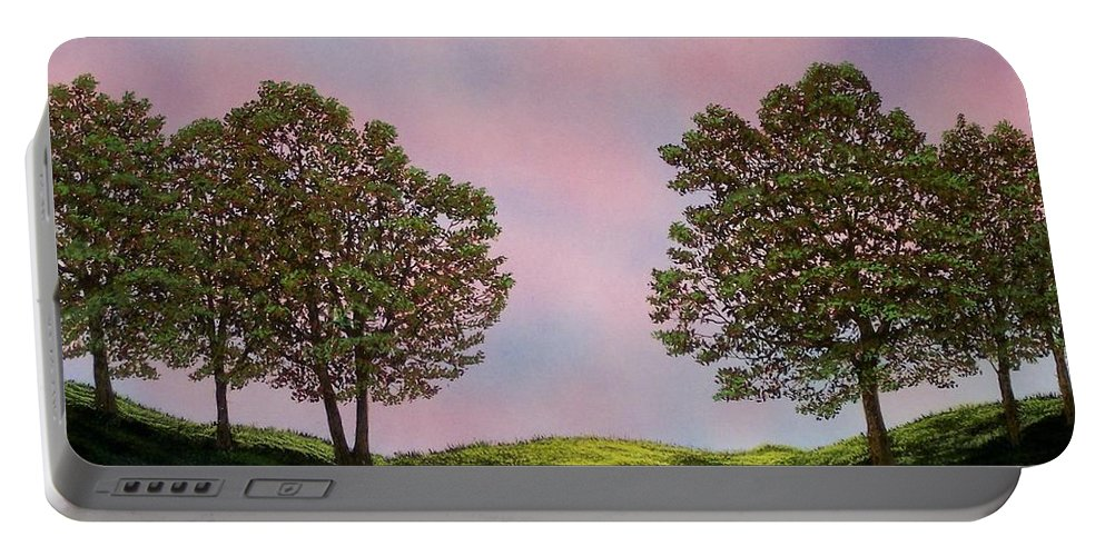 Landscape Portable Battery Charger featuring the painting Colors Of Dawn by Frank Wilson