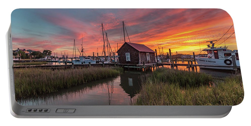 Shem Creek Portable Battery Charger featuring the photograph Colors Of Shem Creek - Mt. Pleasant Sc by Donnie Whitaker