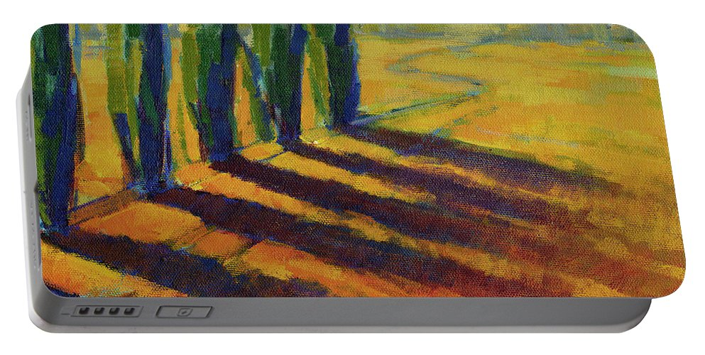 Landscape Portable Battery Charger featuring the painting Colors Of Summer 4 by Konnie Kim