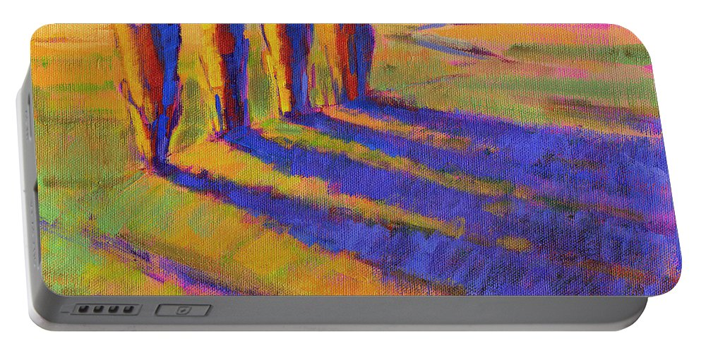 Landscape Portable Battery Charger featuring the painting Colors Of Summer 5 by Konnie Kim