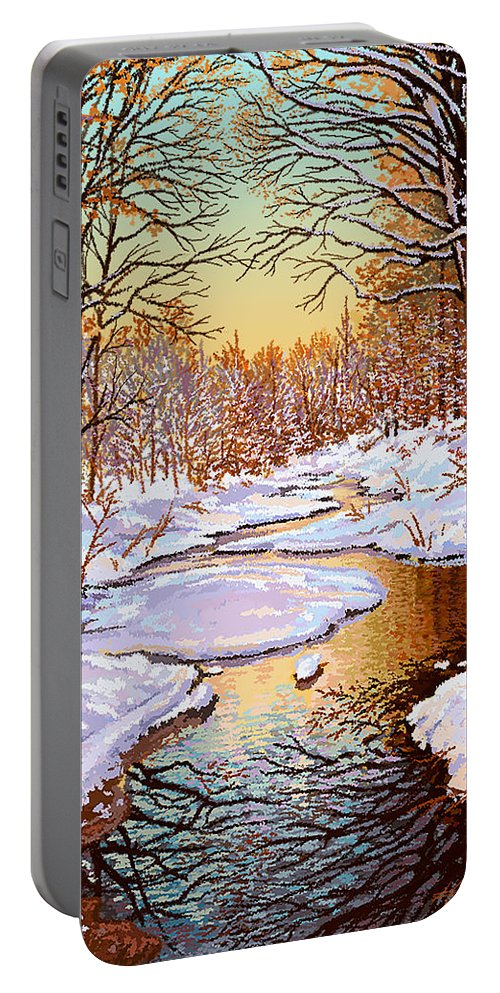 Winter Portable Battery Charger featuring the painting Colors Of Winter by Hans Neuhart