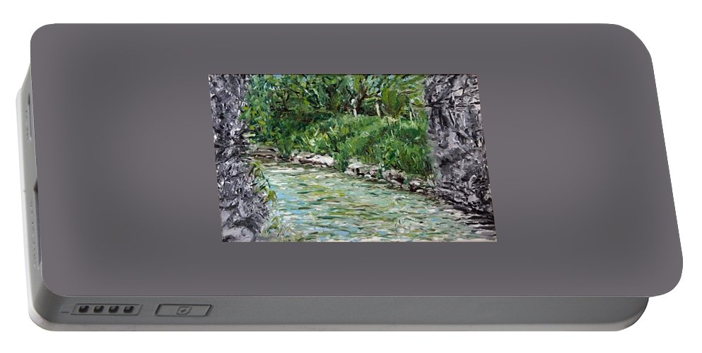 Landscape Portable Battery Charger featuring the painting Colors River by Pablo de Choros