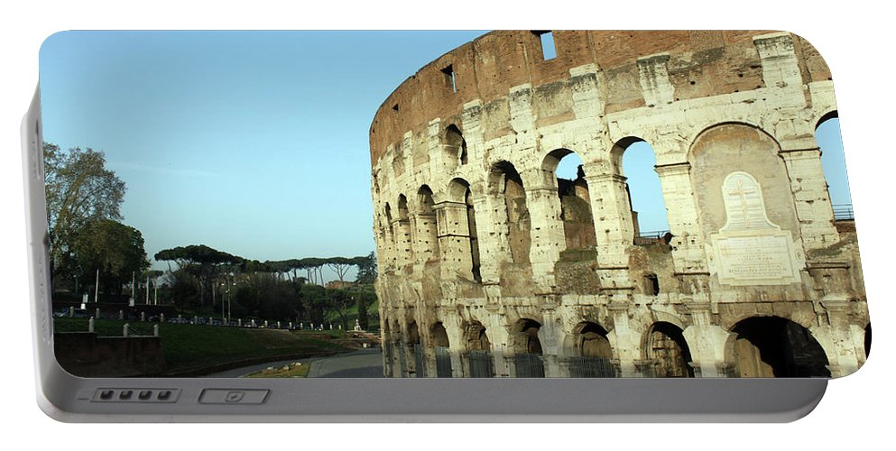 Colosseum Portable Battery Charger featuring the photograph Colosseum Early Morning by Munir Alawi