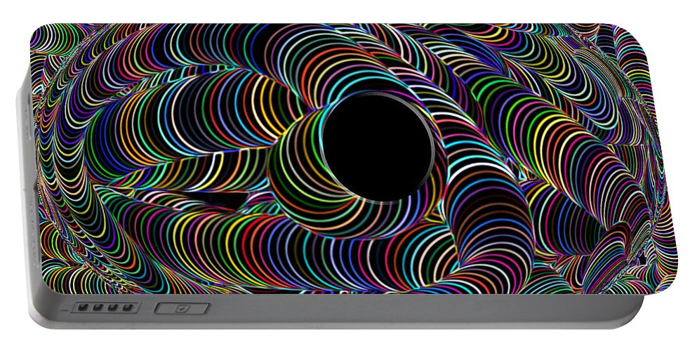 Rainbow Color Colour Abstract Neon Black Light World Colorful Colourful Digital Portable Battery Charger featuring the digital art Colour My World by Andrea Lawrence