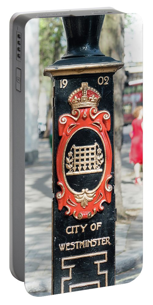 16x9 Portable Battery Charger featuring the photograph Colourful Lamp Post With The City Of Westminster Coat Of Arms London by Jacek Wojnarowski