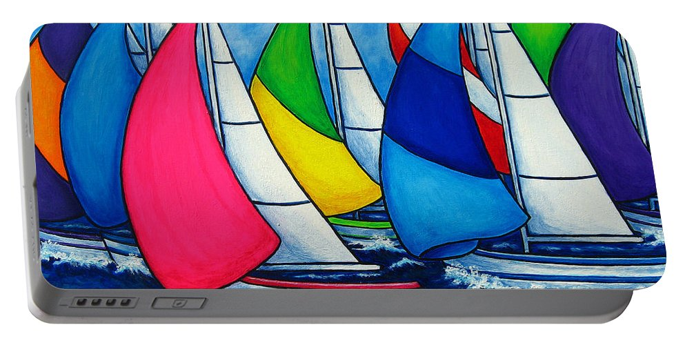 Boats Portable Battery Charger featuring the painting Colourful Regatta by Lisa Lorenz