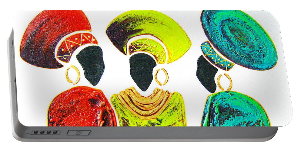 Abstract Portable Battery Charger featuring the painting Colourful Trio - Original Artwork by Tracey Armstrong