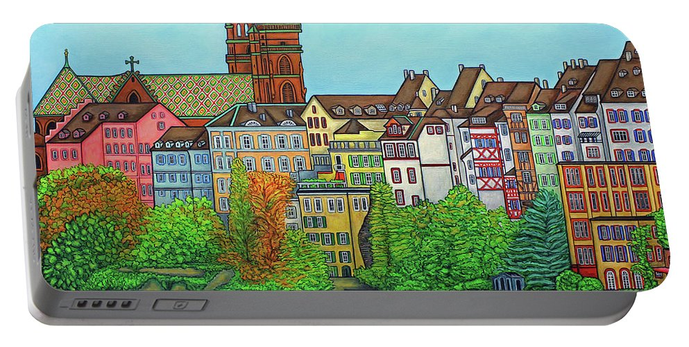 Lisa Lorenz Portable Battery Charger featuring the painting Basel, Colours of Basel by Lisa Lorenz