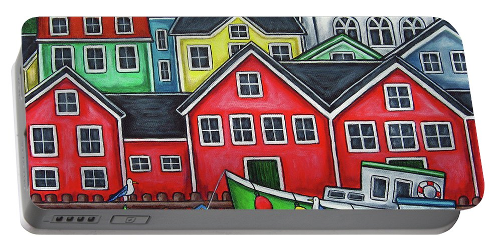 Nova Scotia Portable Battery Charger featuring the painting Colours of Lunenburg by Lisa Lorenz