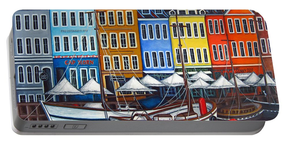 Nyhavn Portable Battery Charger featuring the painting Colours Of Nyhavn by Lisa Lorenz