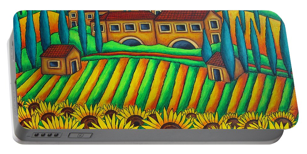 Tuscany Portable Battery Charger featuring the painting Colours Of Tuscany by Lisa Lorenz