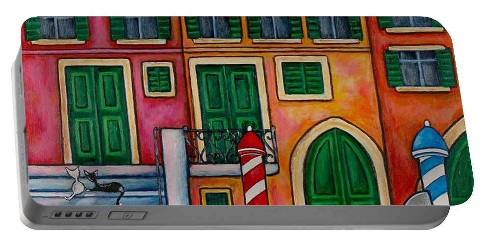 Venice Portable Battery Charger featuring the painting Colours Of Venice by Lisa Lorenz