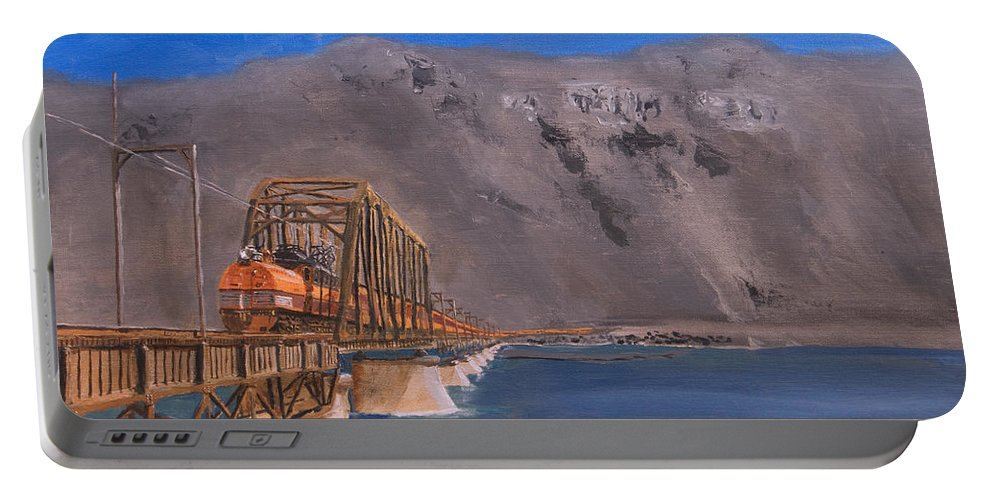 Train Portable Battery Charger featuring the painting Columbia Crossing by Christopher Jenkins