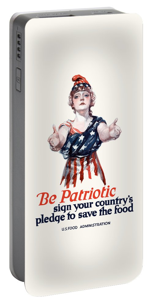 Columbia Portable Battery Charger featuring the painting Columbia Invites You To Save Food by War Is Hell Store
