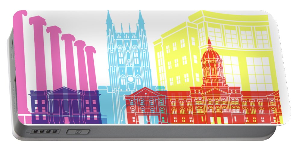 Columbia Portable Battery Charger featuring the painting Columbia Mo Skyline Pop by Pablo Romero