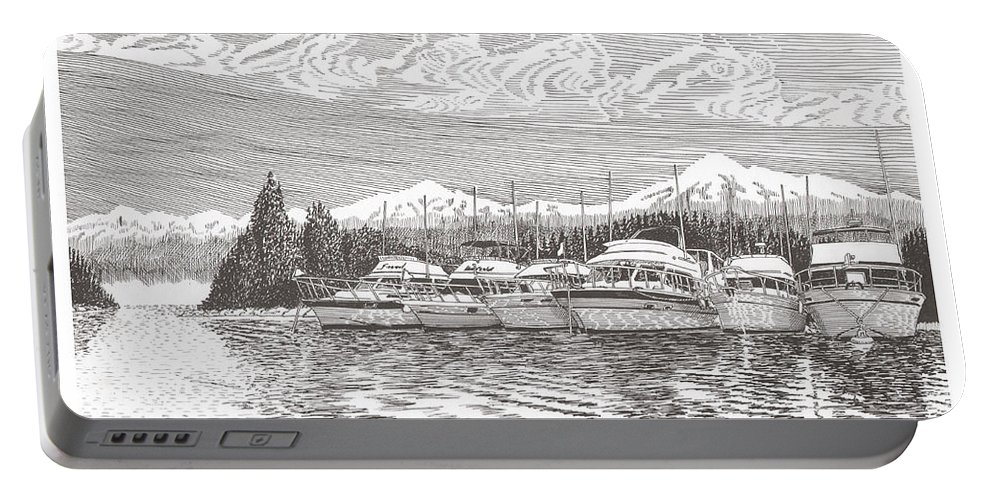 Marine Paintings Marine Art. Canvas Prints Of Boats. Prints Of Boats. Prints Of Waterfront Art. Canvas Prints Of Yachts. Framed Marine Transportation Art Portable Battery Charger featuring the drawing Columbia River Raft Up by Jack Pumphrey
