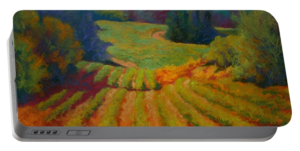 Pastel Portable Battery Charger featuring the painting Columbia Valley Vineyard by Marion Rose