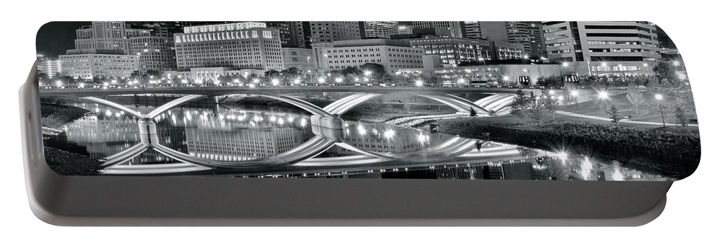 Columbus Portable Battery Charger featuring the photograph Columbus Ohio Black And White by Frozen in Time Fine Art Photography