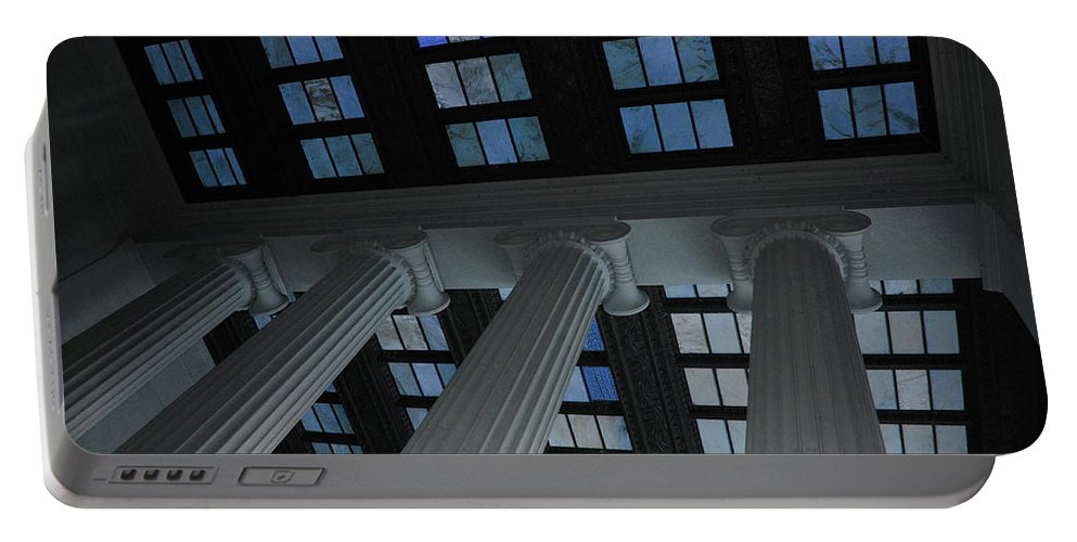 Lincoln Portable Battery Charger featuring the photograph Column Stain Blue by Jost Houk