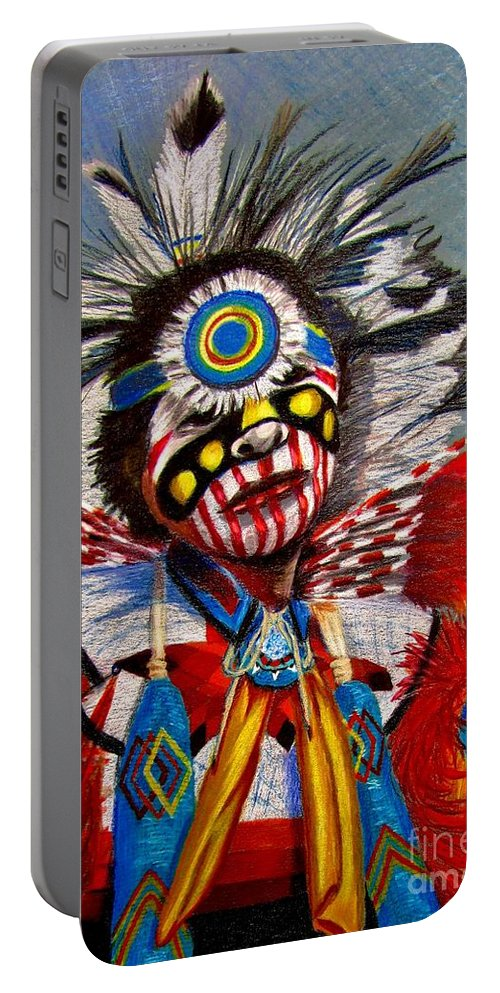 Comanche Dance Portable Battery Charger featuring the drawing Comanche Dance by Marilyn Smith