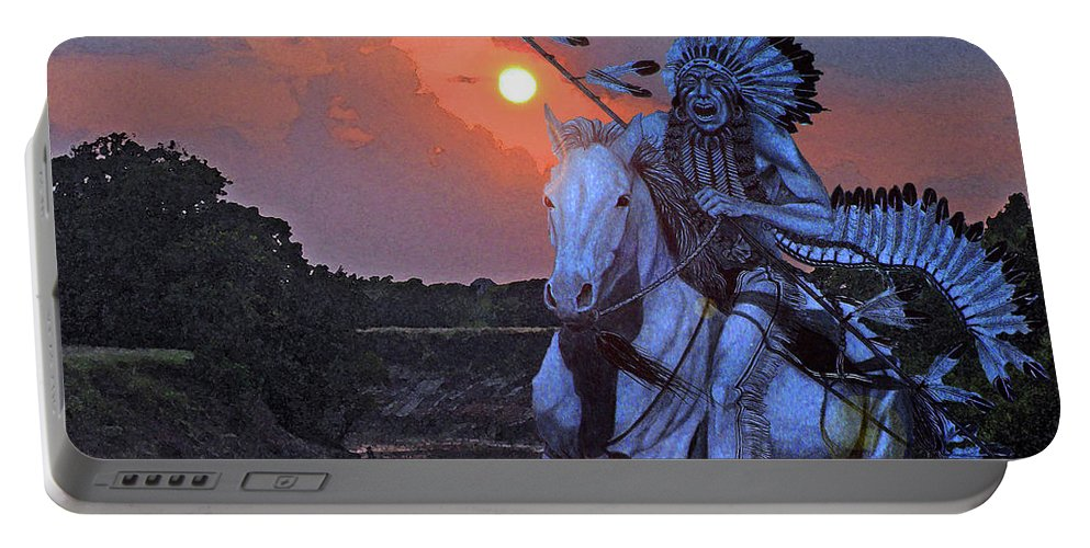 Quanah Parker Portable Battery Charger featuring the painting Comanche Spirit by Russell Cushman