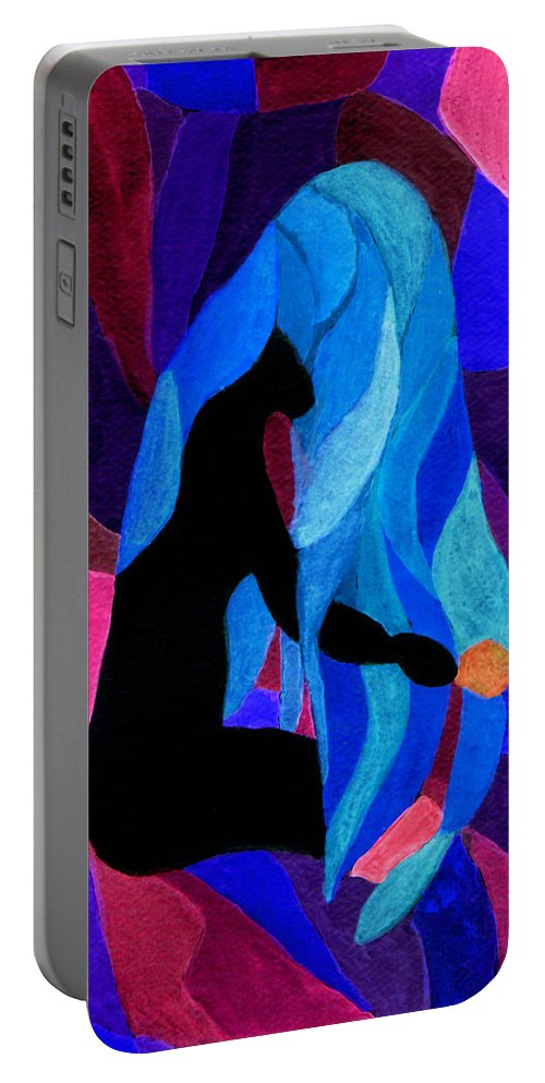 Female Portable Battery Charger featuring the painting Combing The Waves Dark by Paula Ayers