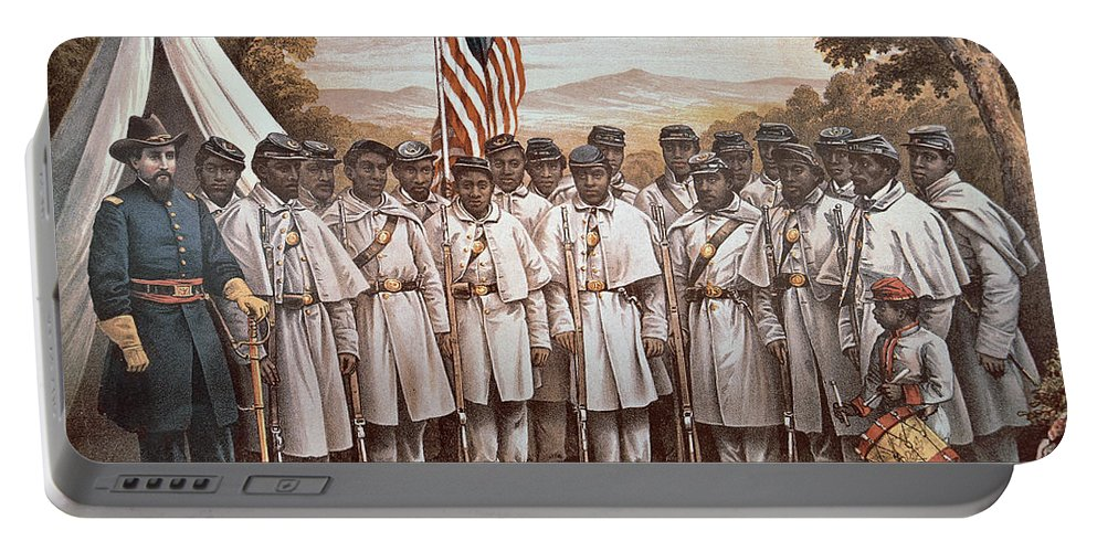 Recruitment; American Civil War; Volunteer; Soldiers; Soldier; Army; Uniform; Flag; Stars And Stripes; General; Drummer; Negro; African-american; Us; Usa; Recruiting; Advertisement; Advert; Propaganda; African American Portable Battery Charger featuring the painting 'come And Join Us Brothers' by American School