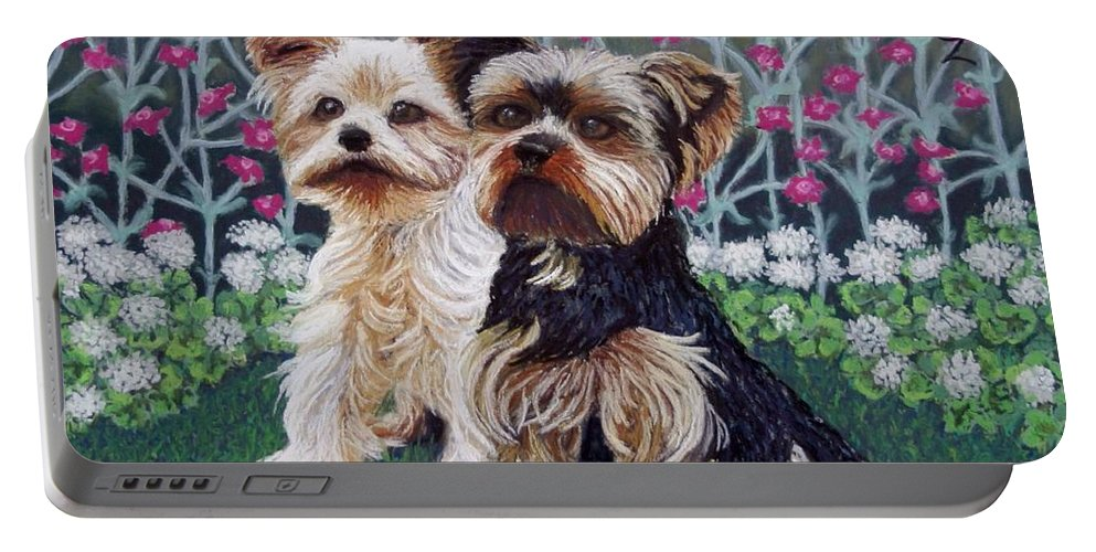 Dogs Portable Battery Charger featuring the painting Come Play With Me by Minaz Jantz