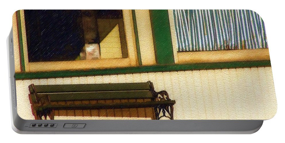Bench Portable Battery Charger featuring the photograph Come Sit A Spell by Sandy MacGowan