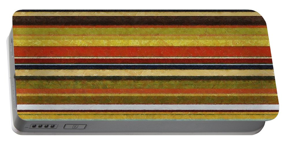 Textured Portable Battery Charger featuring the digital art Comfortable Stripes Vl by Michelle Calkins
