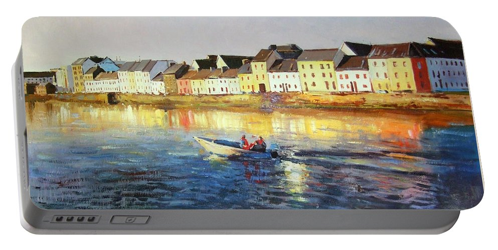 Seascape Portable Battery Charger featuring the painting Coming Home by Conor McGuire