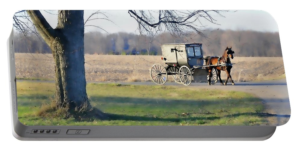 Amish Portable Battery Charger featuring the photograph Coming Home by David Arment