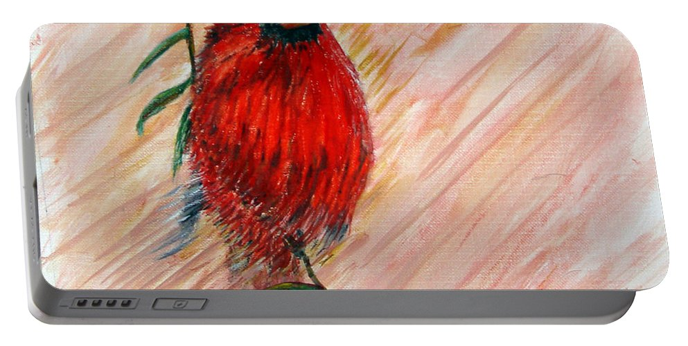 Cardinal Portable Battery Charger featuring the painting Commander by Loretta Luglio