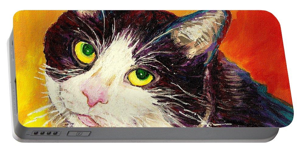Cats Portable Battery Charger featuring the painting Commission Your Pets Portrait By Artist Carole Spandau Bfa Ecole Des Beaux Arts by Carole Spandau