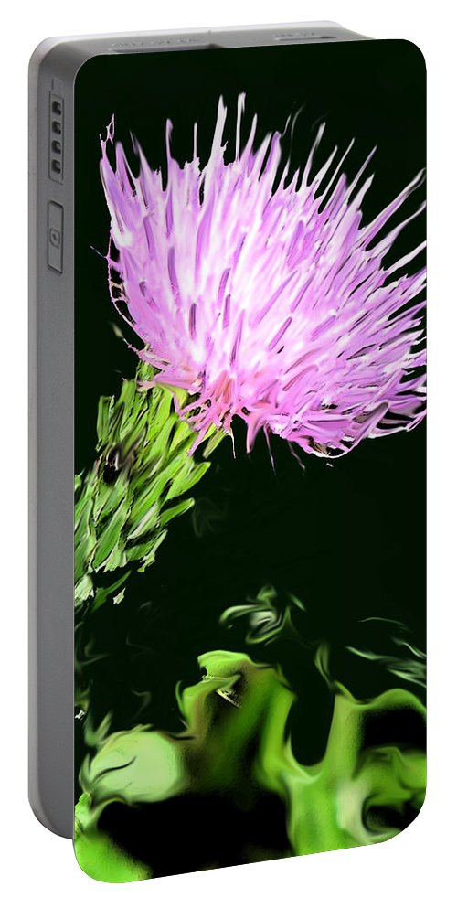 Weed Portable Battery Charger featuring the digital art Common Weed by Ian MacDonald