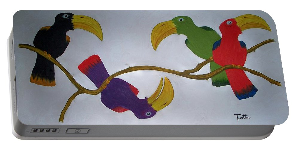 Birds Portable Battery Charger featuring the painting Community Stick by Patrick Trotter