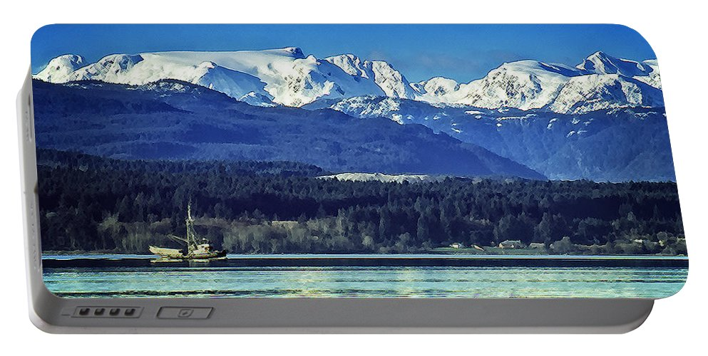 Comox Glacier Portable Battery Charger featuring the digital art Comox Glacier And Herring Boat by Richard Farrington