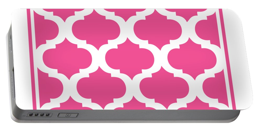 Compact Marrakesh Portable Battery Charger featuring the digital art Compact Marrakesh With Border In French Pink by Custom Home Fashions