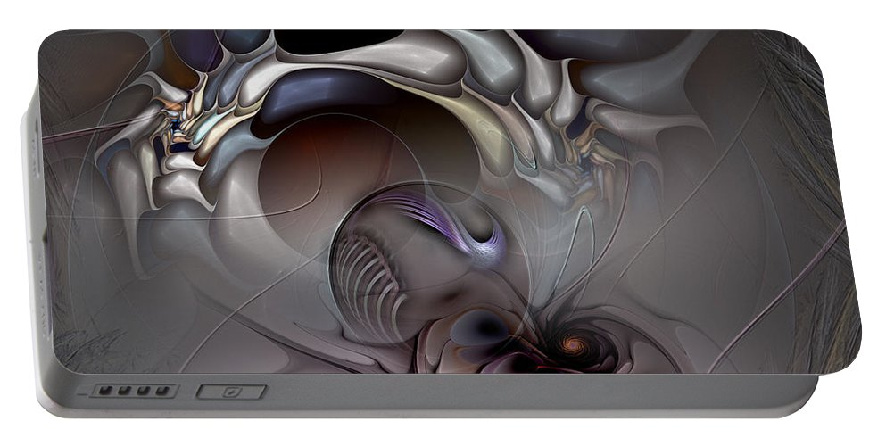 Abstract Portable Battery Charger featuring the digital art Compartmentalized Delusion by Casey Kotas