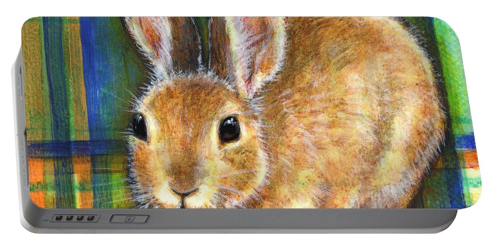 Rabbit Portable Battery Charger featuring the painting Compassion by Retta Stephenson