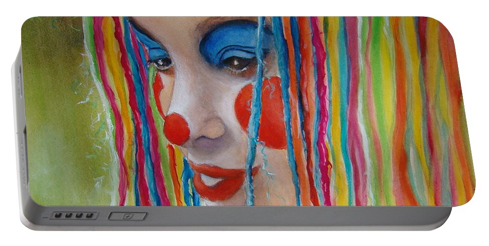 Clowns Portable Battery Charger featuring the painting Complementary by Myra Evans