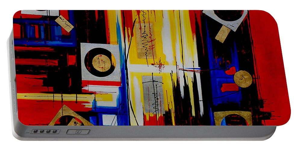 Abstract Portable Battery Charger featuring the painting Composition - 4 - by Miroslav Stojkovic - Miro