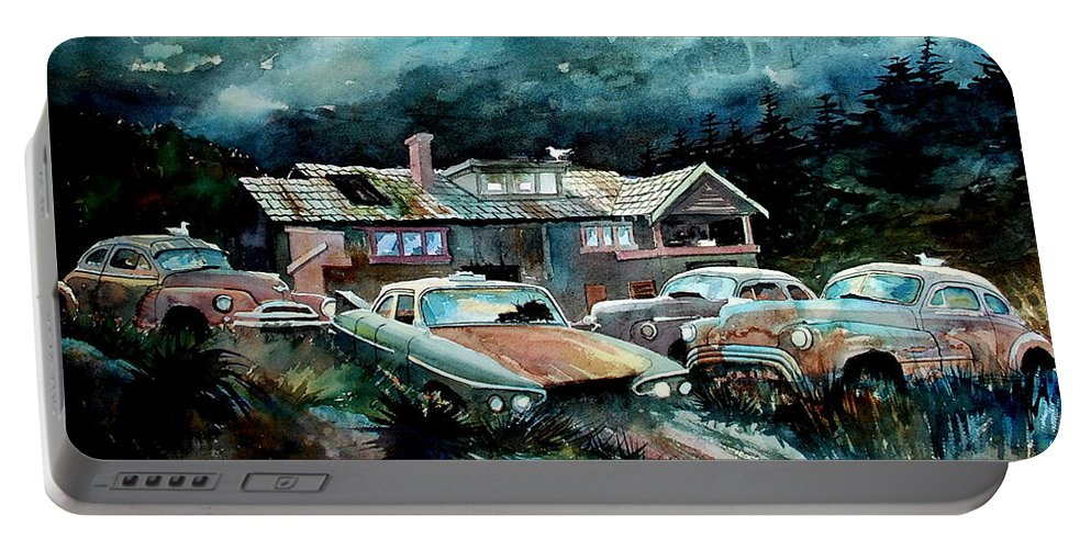 House Portable Battery Charger featuring the painting Compound In Cumberland Gap by Ron Morrison
