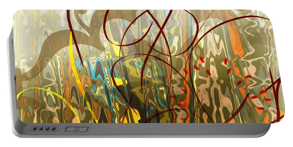 Abstract Portable Battery Charger featuring the digital art Concealed Treasure by Ruth Palmer