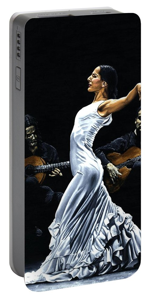 Flamenco Portable Battery Charger featuring the painting Concentracion Del Funcionamiento Del Flamenco by Richard Young