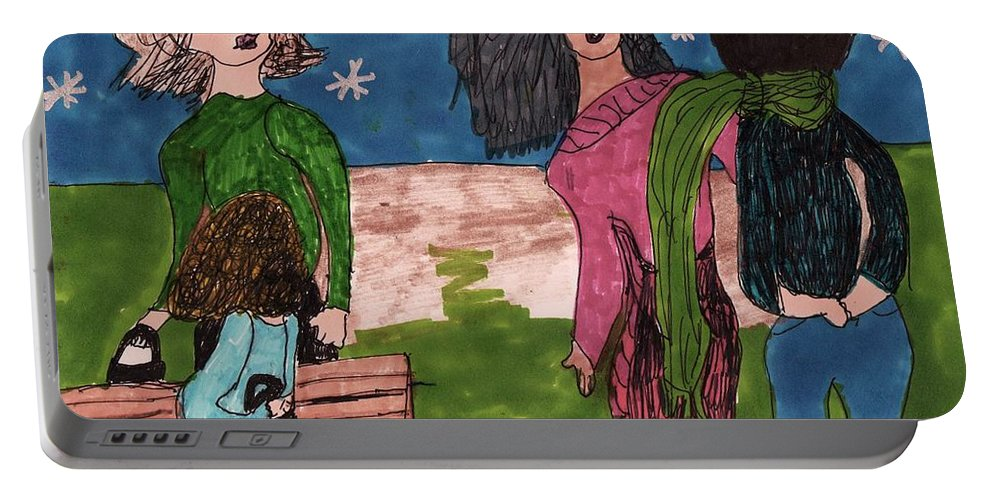 2 Ladies Little Girl And A Teenager Portable Battery Charger featuring the mixed media Concerned Mother by Elinor Helen Rakowski