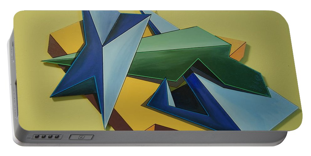 Conceptual Art Portable Battery Charger featuring the painting Concezione Volumetrica 3 by Maurizo Saletti alias MAUS