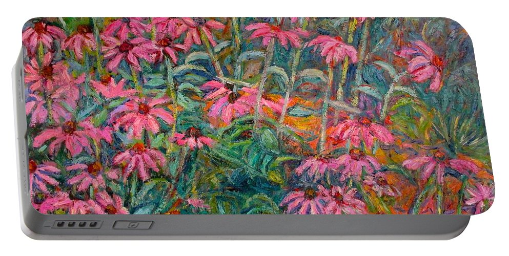 Kendall Kessler Portable Battery Charger featuring the painting Coneflowers by Kendall Kessler