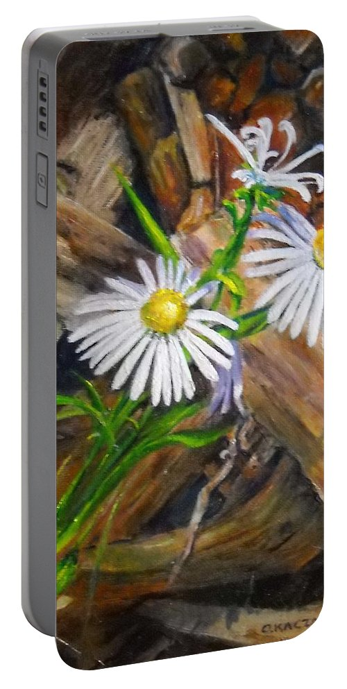 Flower Still Life Portable Battery Charger featuring the painting Coneflowers by Olga Kaczmar